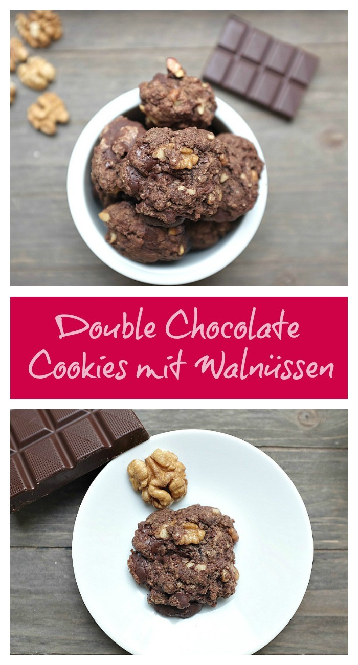 Super schnelle Double Chocolate Cookies mit Walnüssen.