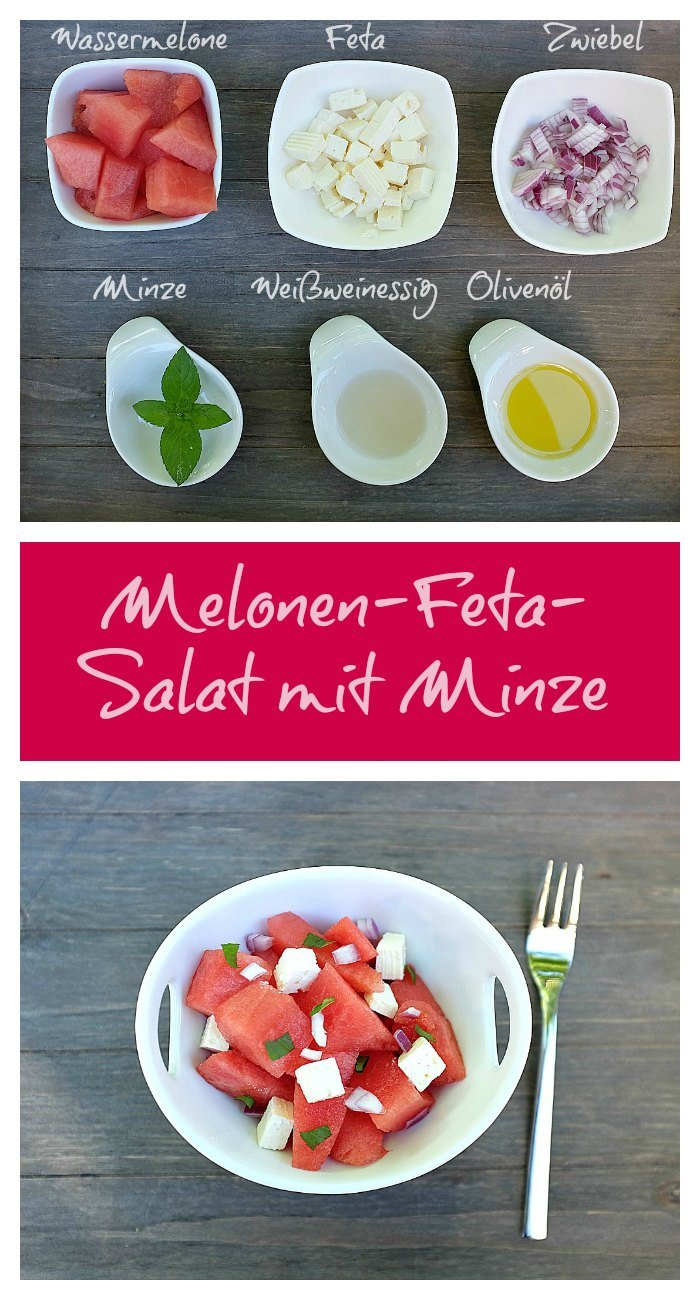 melonen feta salat mit minze schnelle und leckere. Black Bedroom Furniture Sets. Home Design Ideas