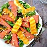 Melonen-Salat mit gegrilltem Halloumi